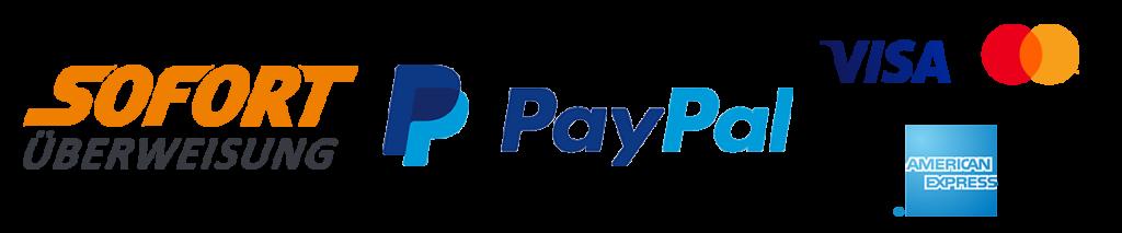 Zahlmethoden Sofort Überweisung, Paypal, Visa, Mastercard und American Express.