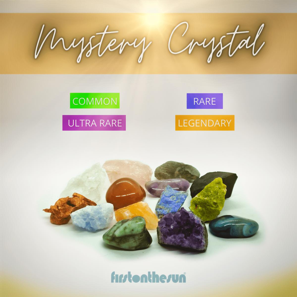 Eine Auflistung einiger zufälliger Mystery Crystals Edelsteine mit Seltenheitstabelle